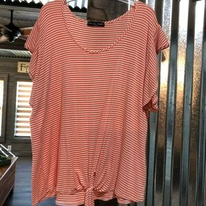 Short Sleeve Blouse w/Tie @ Bottom Front